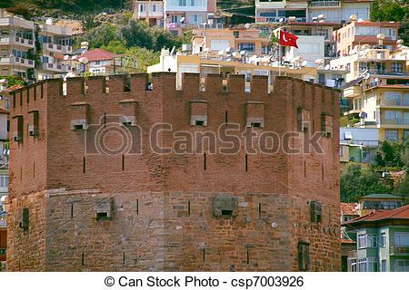 Stock Image of Kizil Kule (Red Tower), inTurkish city of Alanya.