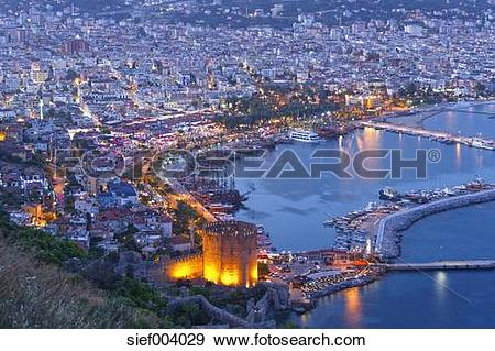 Stock Photograph of Turkey, Alanya, View of Red tower with harbour.