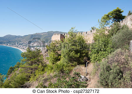 Picture of castle of Alanya in Antalya, Turkey csp27327172.