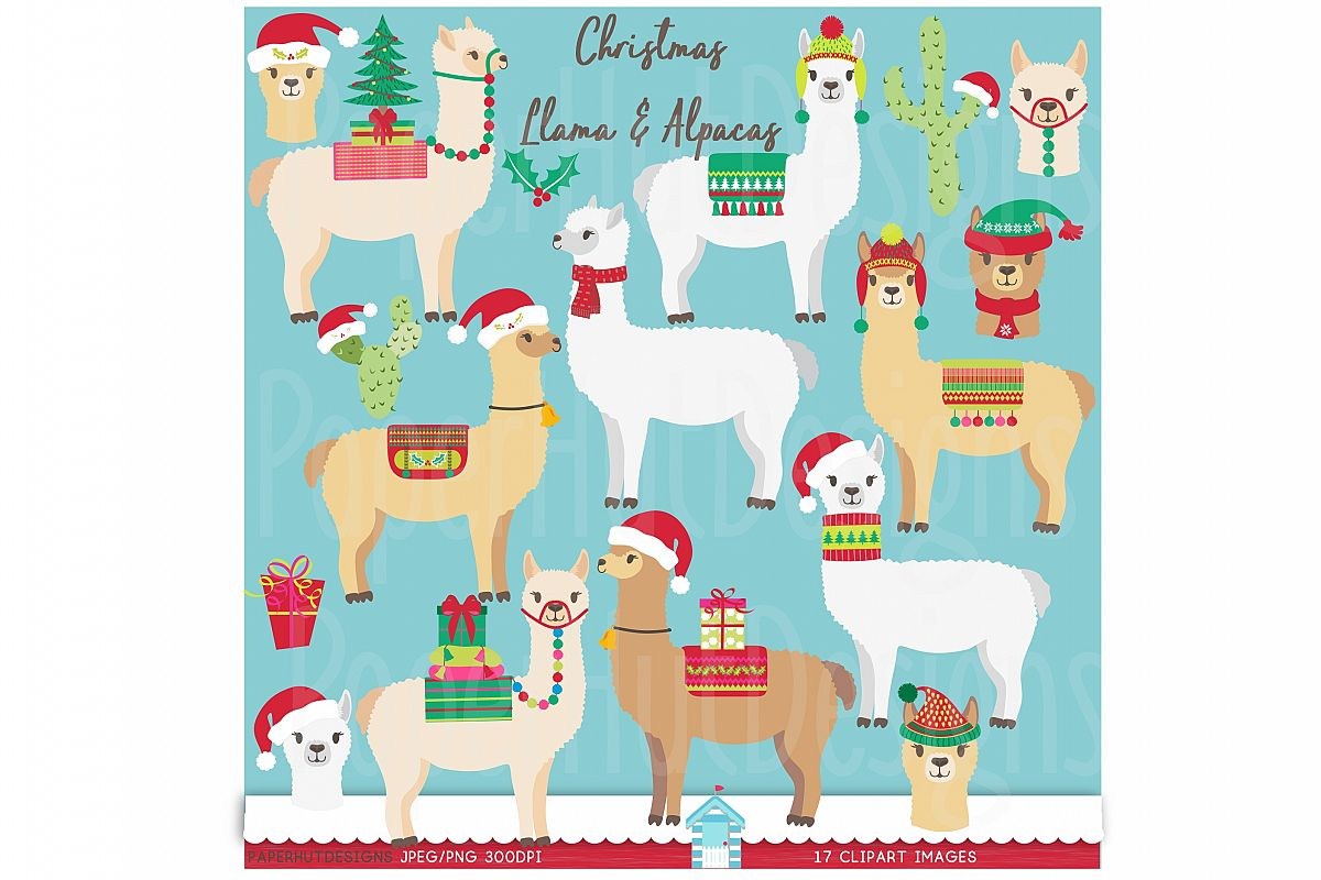 Christmas Llama and Alpaca Clipart.