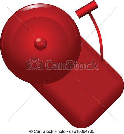 Vector Clipart of Red alarm bell with alarm calls. Vector.