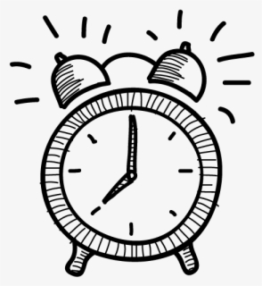 Free Alarm Clock Black And White Clip Art with No Background.