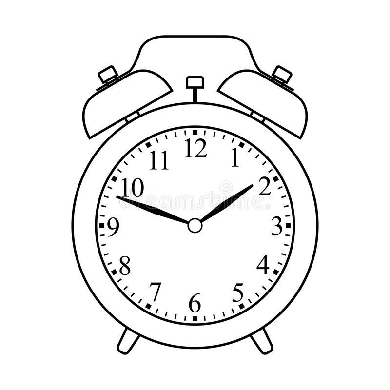 Black And White Alarm Clock Clipart.