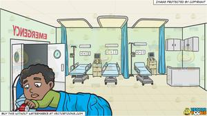 A Black Boy Turning Off His Alarm Clock and Hospital Emergency Room  Background.
