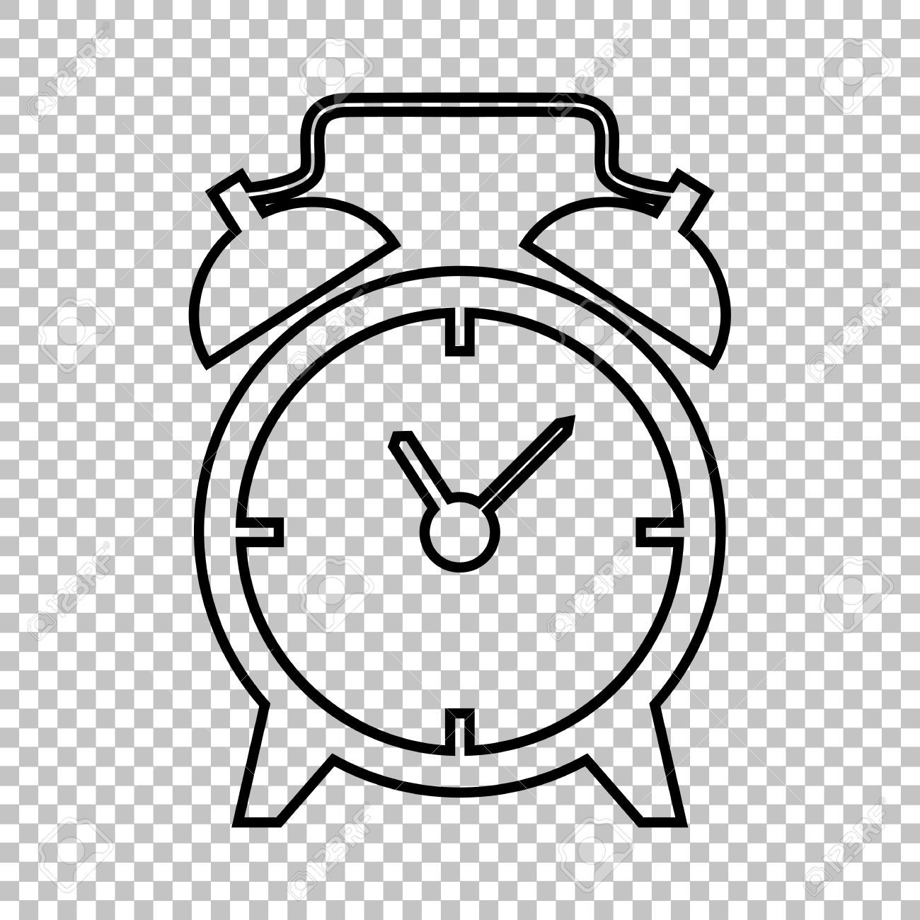 Alarm Clock Line Vector Icon On Transparent Background.