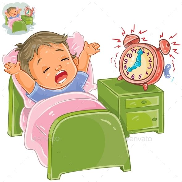 Vector illustration of a little child woke up in the morning.