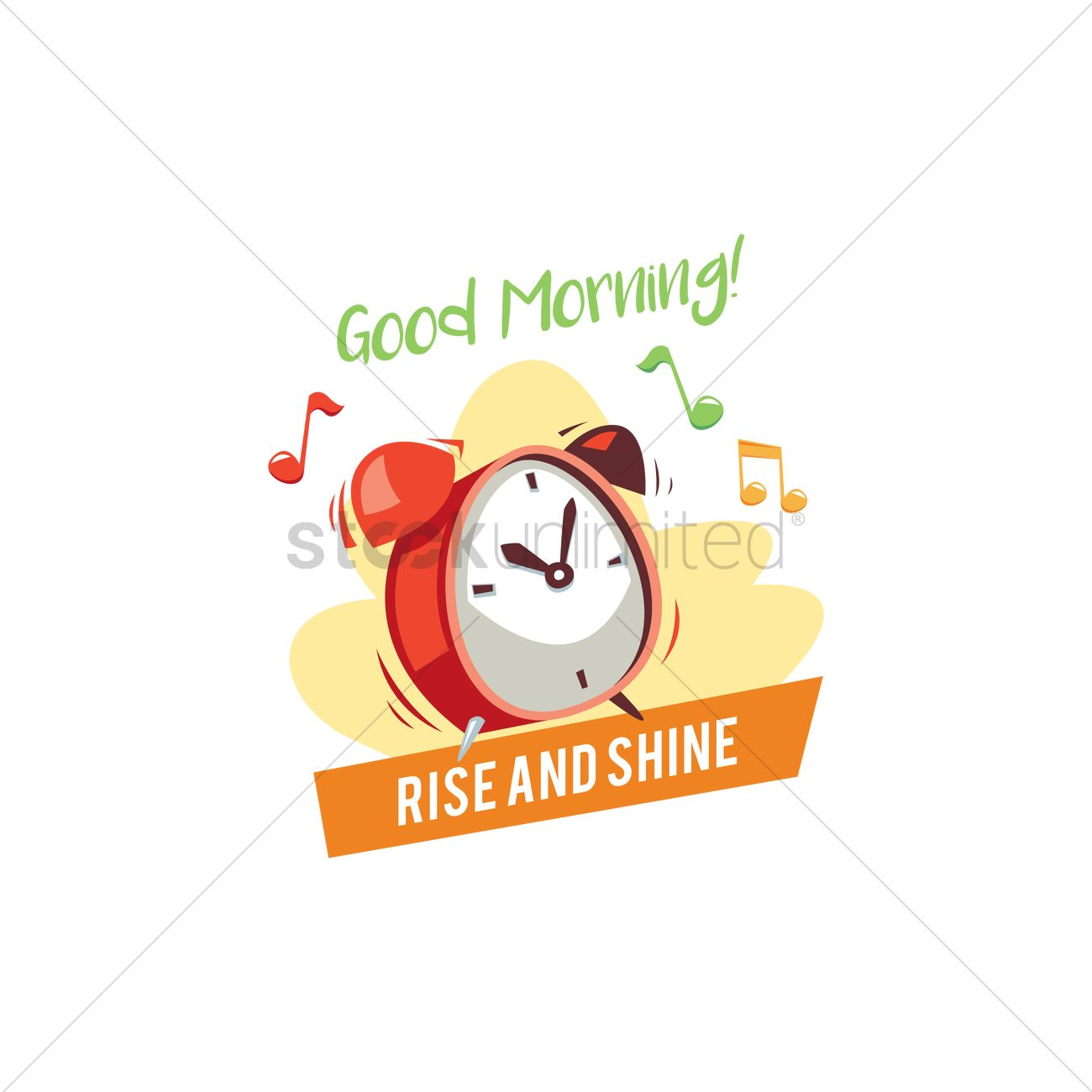 Alarm clock with good morning text Vector Image.
