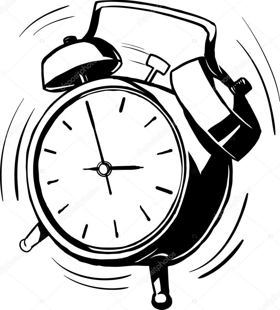 Alarm Clock Ringing Clipart Black And White.