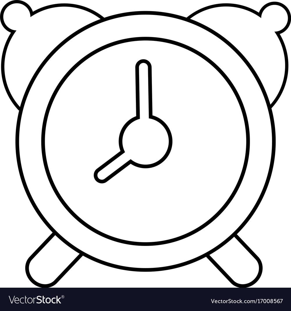 Alarm clock icon outline line style.