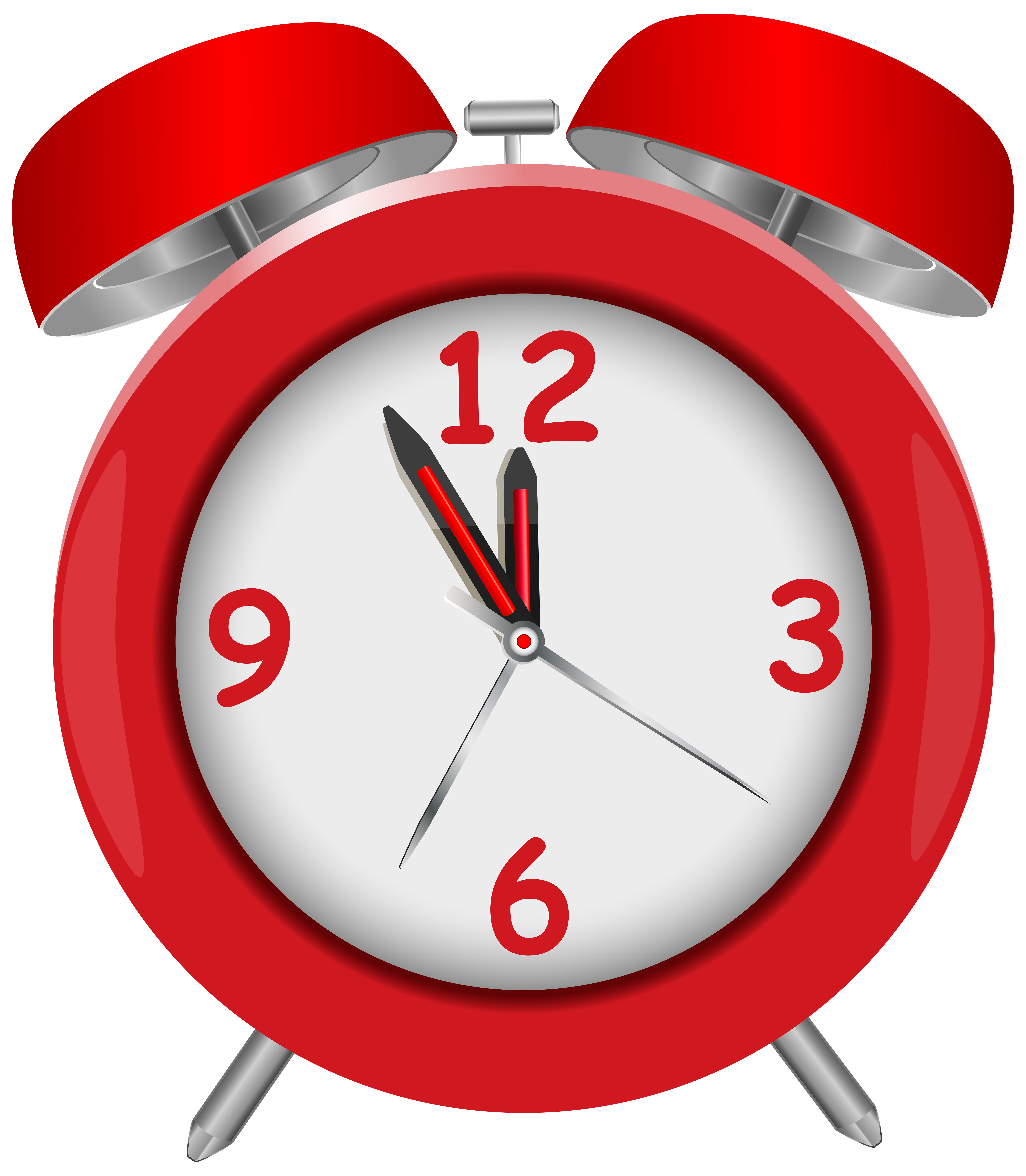 Red Alarm Clock Red PNG Clip Art.