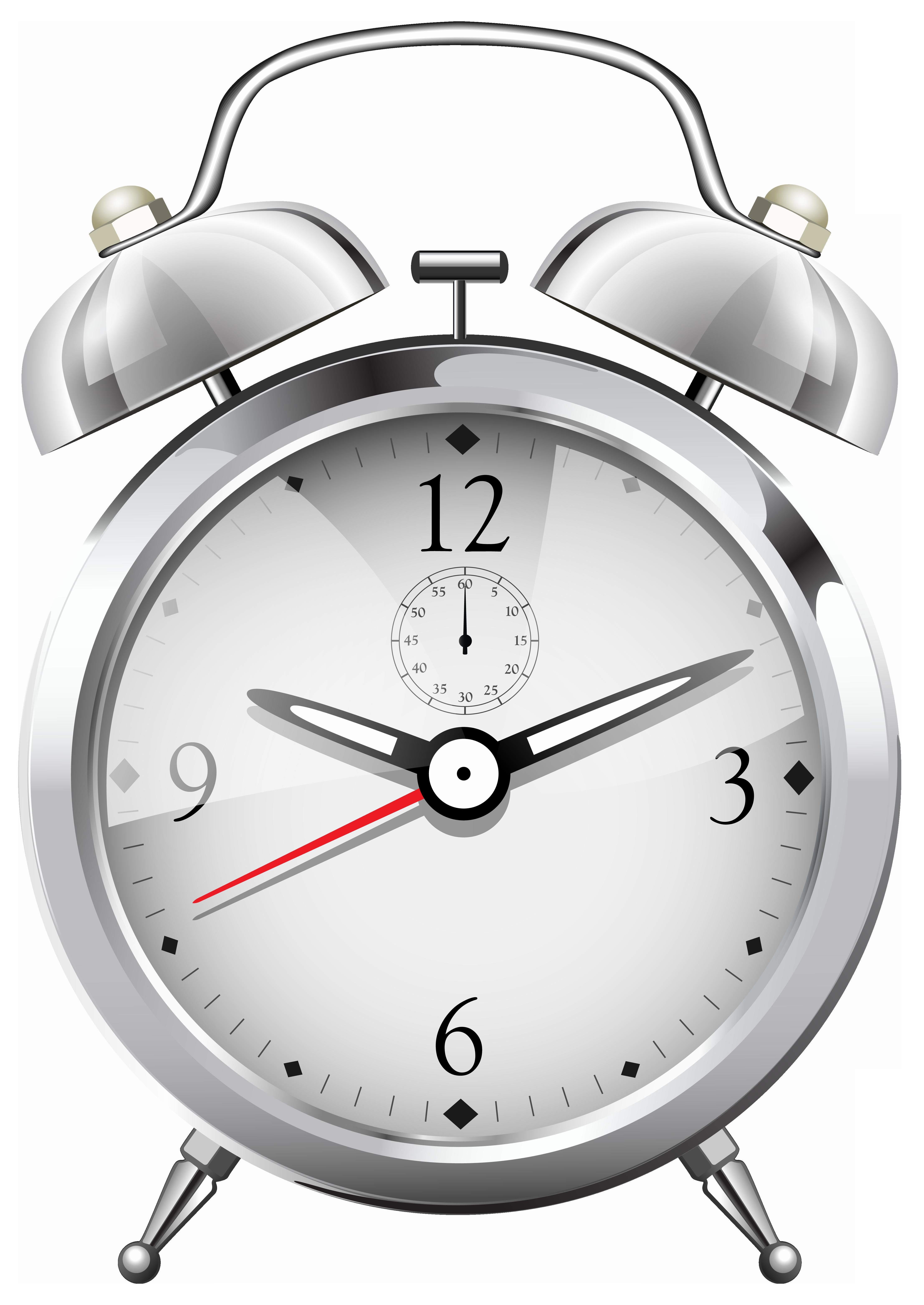 Silver Alarm Clock PNG Clip Art.