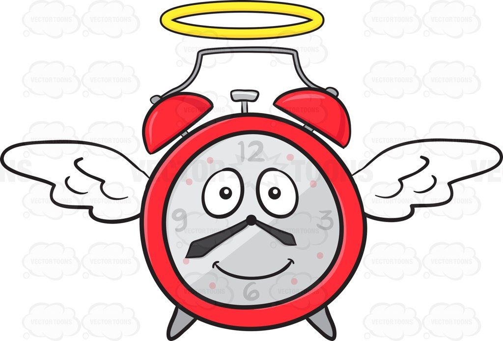 Smiling Alarm Clock With Halo And Wings Emoji #alarm.