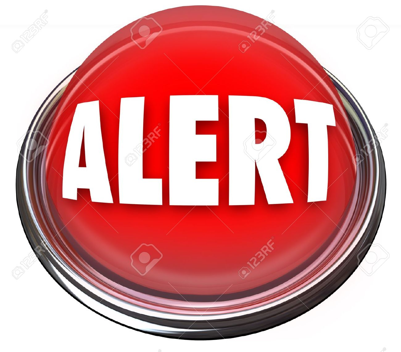 A Round Red Button Or Light With The Word Alert Stock Photo.