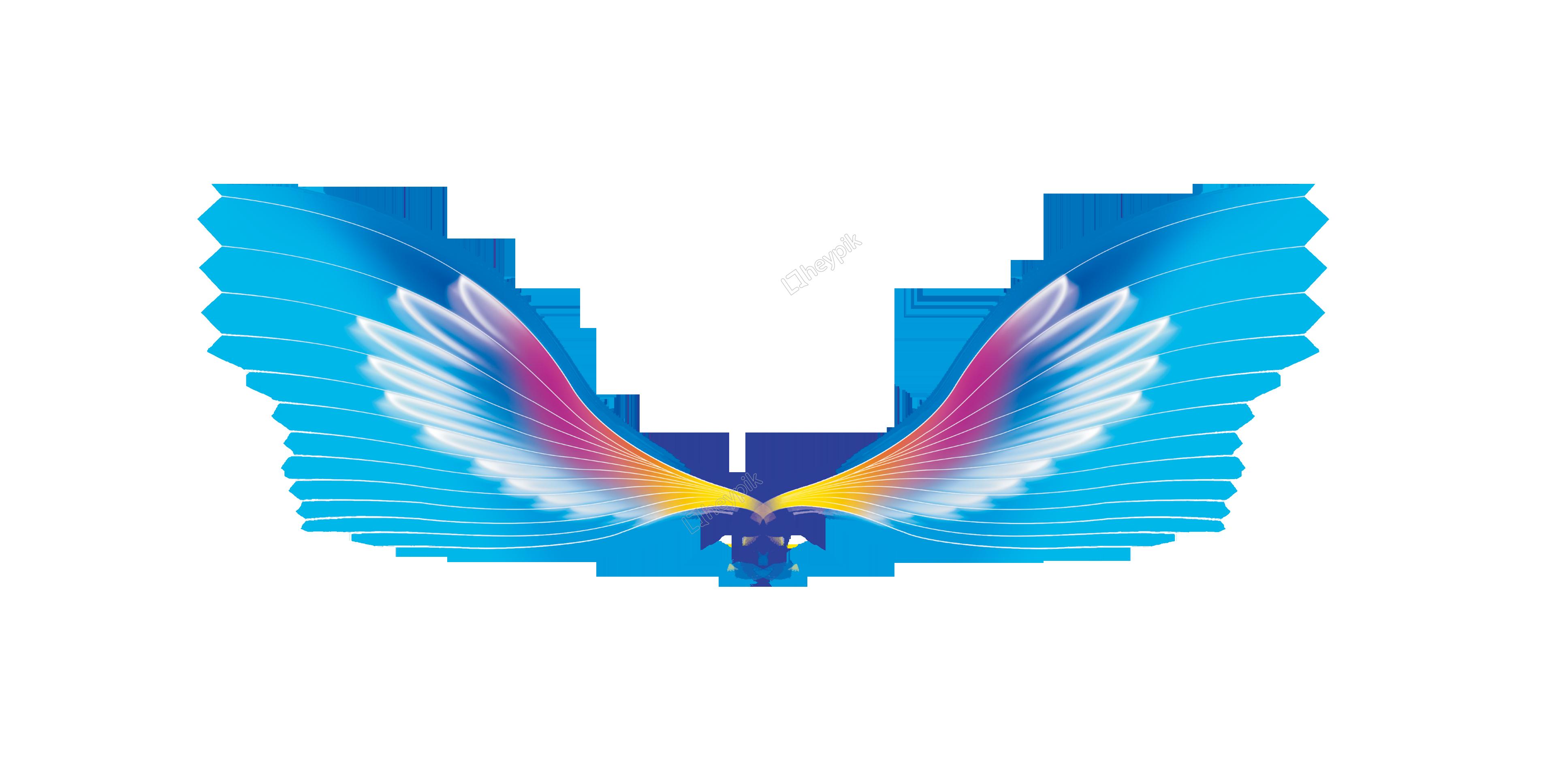Decoración de las alas de ángel de color.