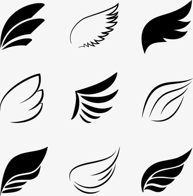 Black Wings Elements, Vector, Decoration PNG Transparent Clipart.