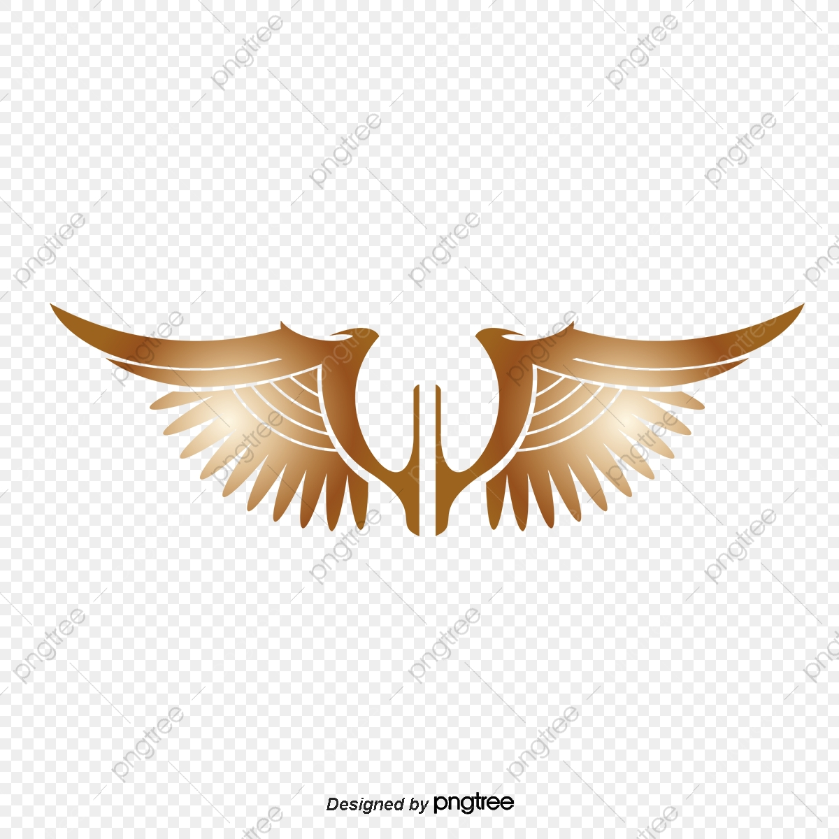 Wings Png Vector Material, Golden Wings, Hand Painted, Golden PNG.