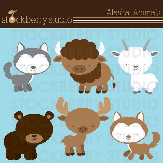 Alaska Animals clipart set. Husky, Goat, Buffalo, Moose and Bear.