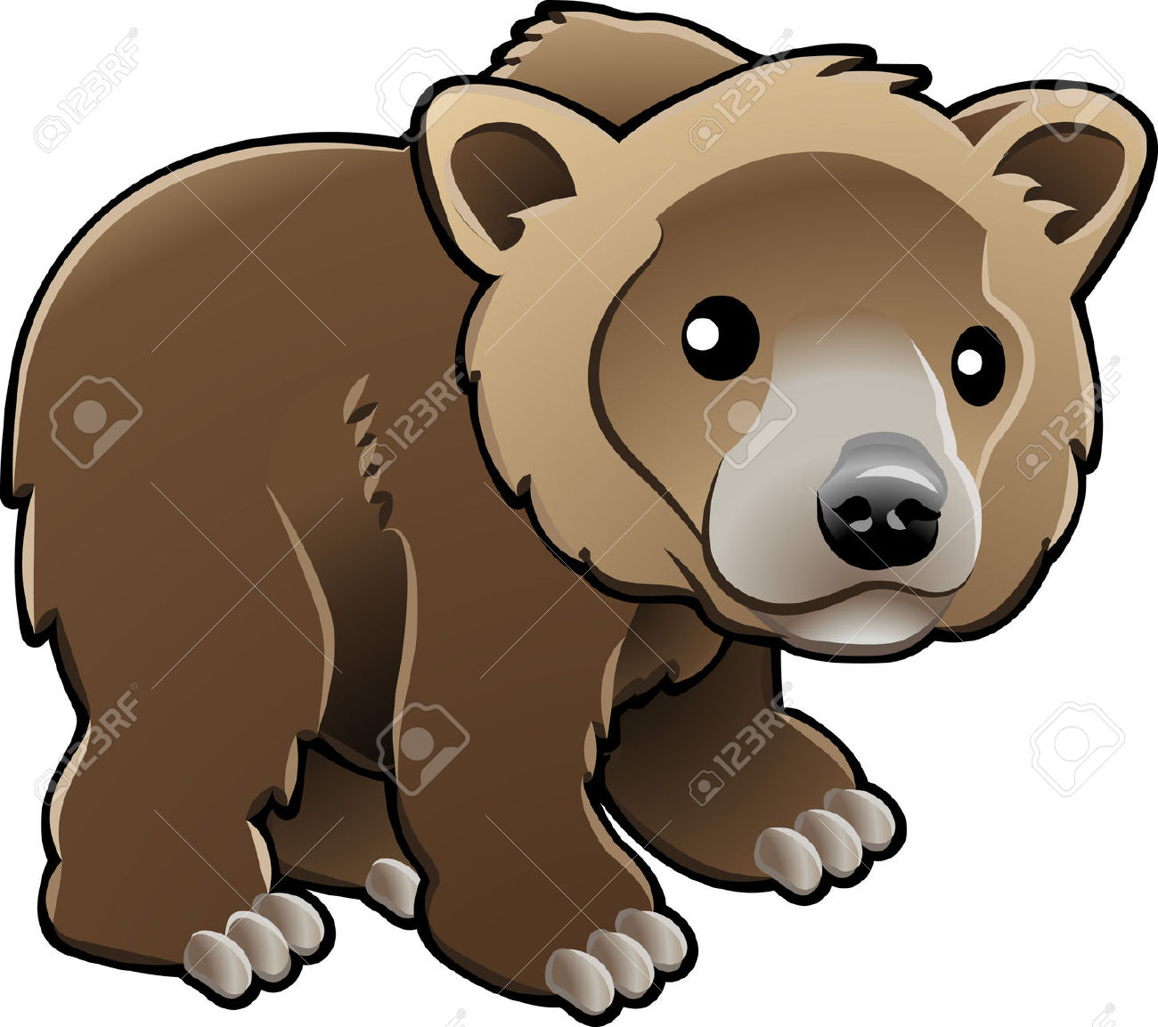 A Vector Illustration Of A Cute Grizzly, Brown Or Kodiak Bear.