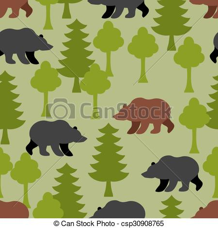 Clip Art Vector of Bears in woods as a seamless pattern. Grizzly.