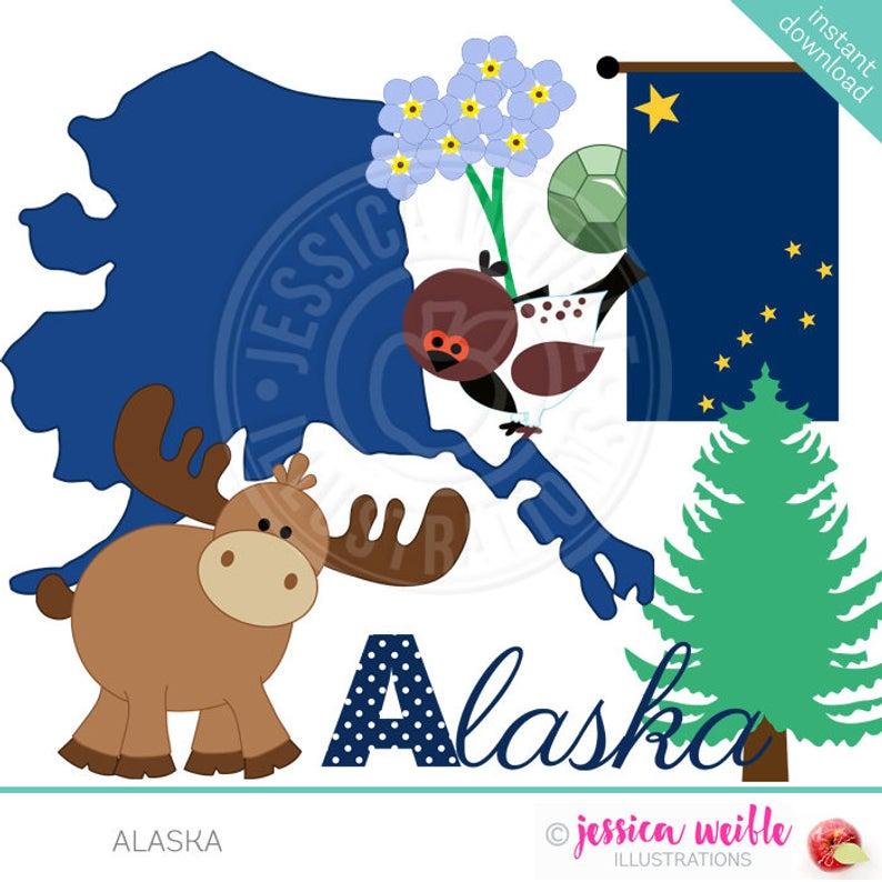 Alaska Cute Digital Clipart for Invitations, Card Design, Scrapbooking, and  Web Design, State of Alaska Clipart.