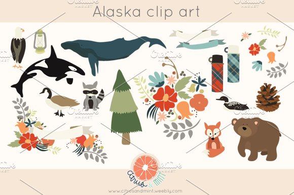 Woodland Alaska Clip Art.