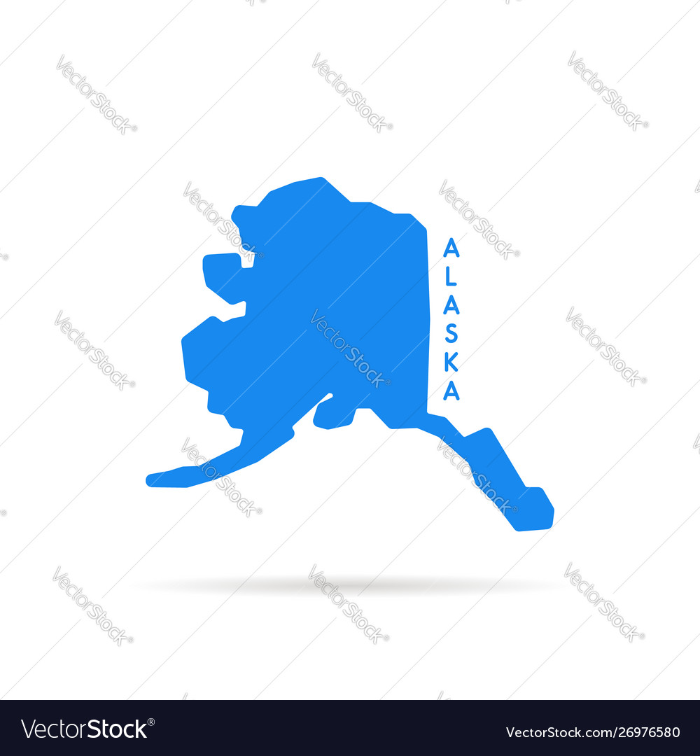 Blue simple alaska map logo.