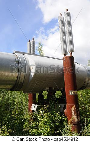 Stock Photo of Trans Alaska Pipeline Permafrost Heat Exchangers.