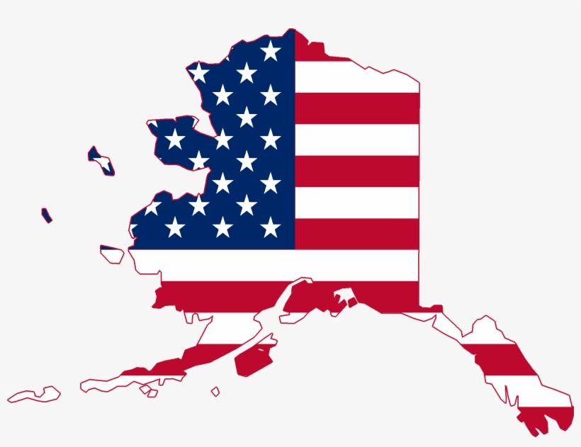 Flag Map Of Alaska.