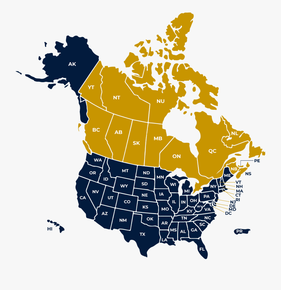 Canada Usa Mexico Map , Free Transparent Clipart.