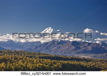 Stock Photography of Scenic view of Mt. McKinley and the Alaska.