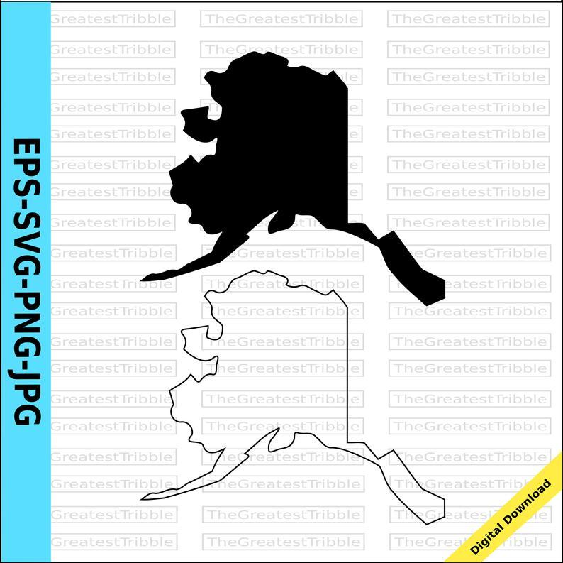 Alaska State Map svg png jpg eps Vector Graphic Clip Art Alaska Silhouette  US States.