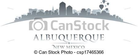 Clip Art Vector of Albuquerque New Mexico city skyline silhouette.