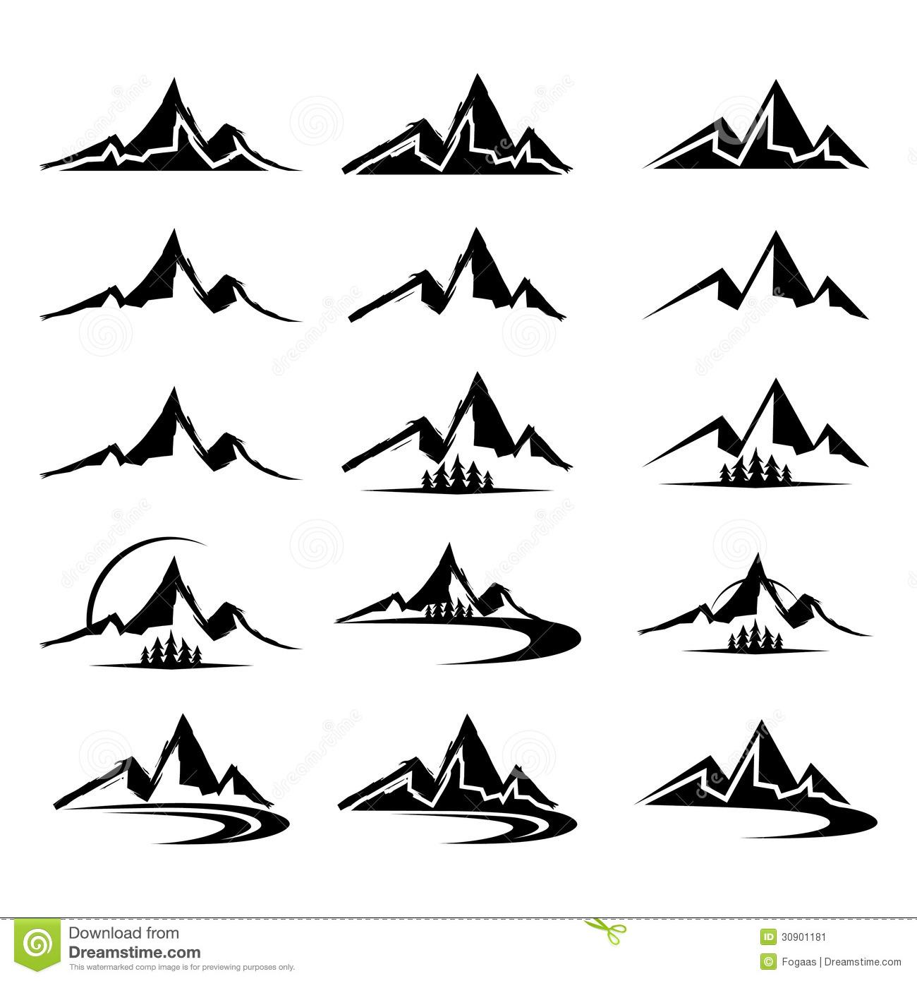 Mountain Icon Clipart Set Stock Image.