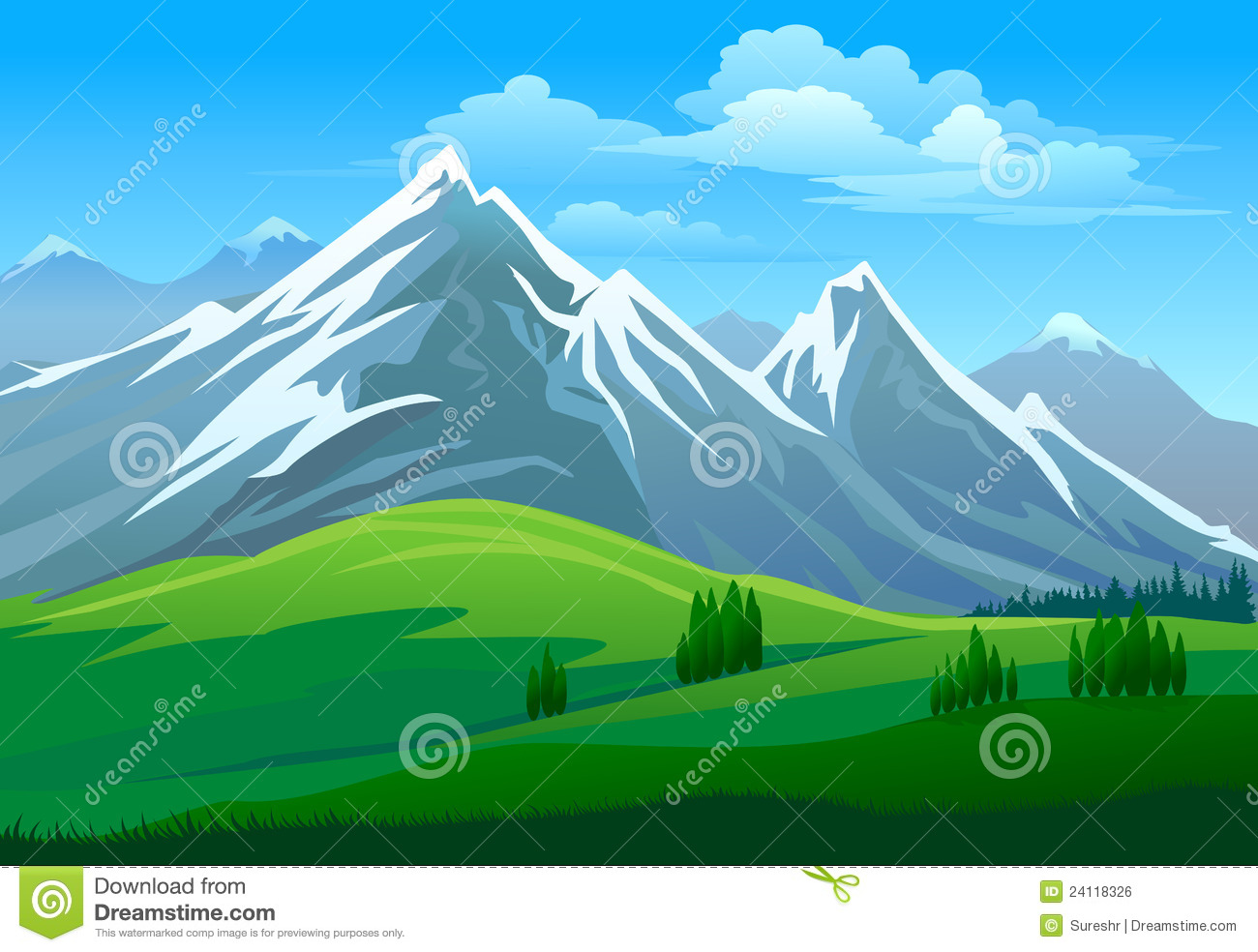 Amazing Snow Clad Mountain And Green Valley Royalty Free Stock.