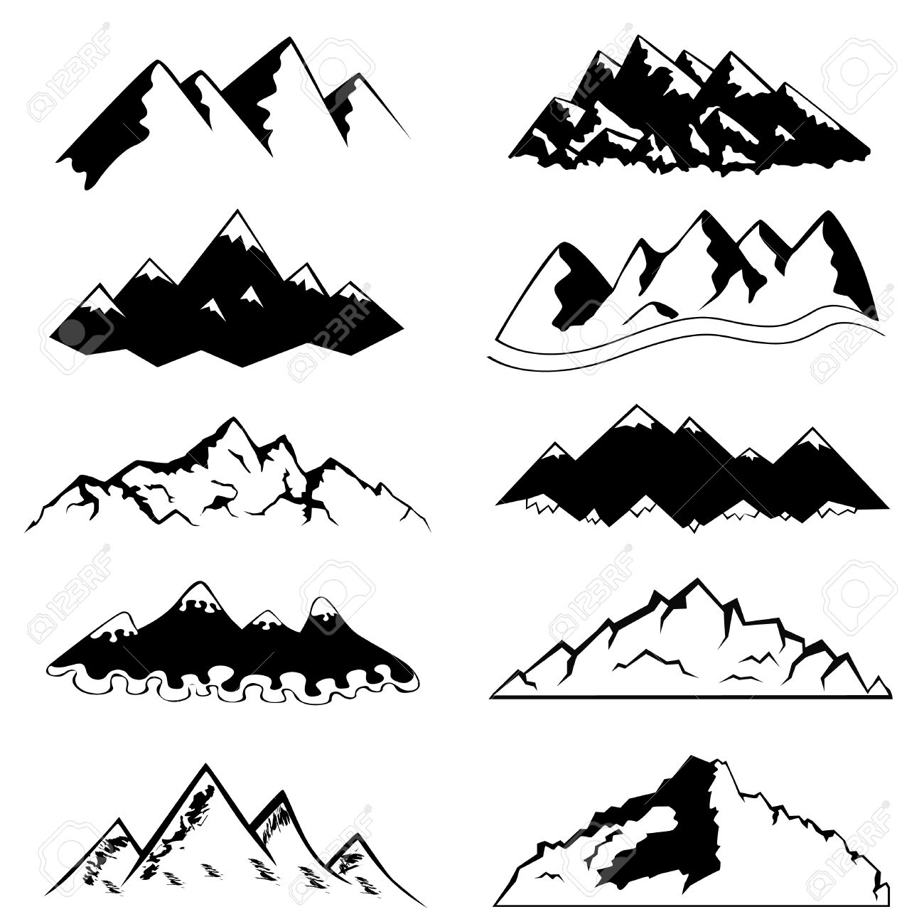 Set Of Mountain Royalty Free Cliparts, Vectors, And Stock.