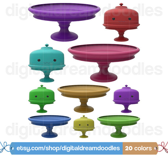Cake Stand Clipart Clipart Kawaii cuisine par DigitalDreamDoodles.