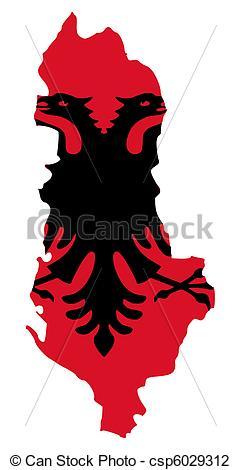 Clip Art of Albania flag on map.