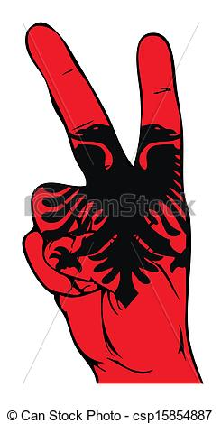 Vector of Peace Sign of the Albanian flag.