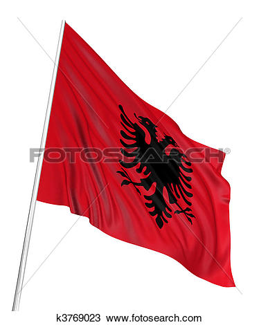 Drawing of 3D Albanian flag k3769023.