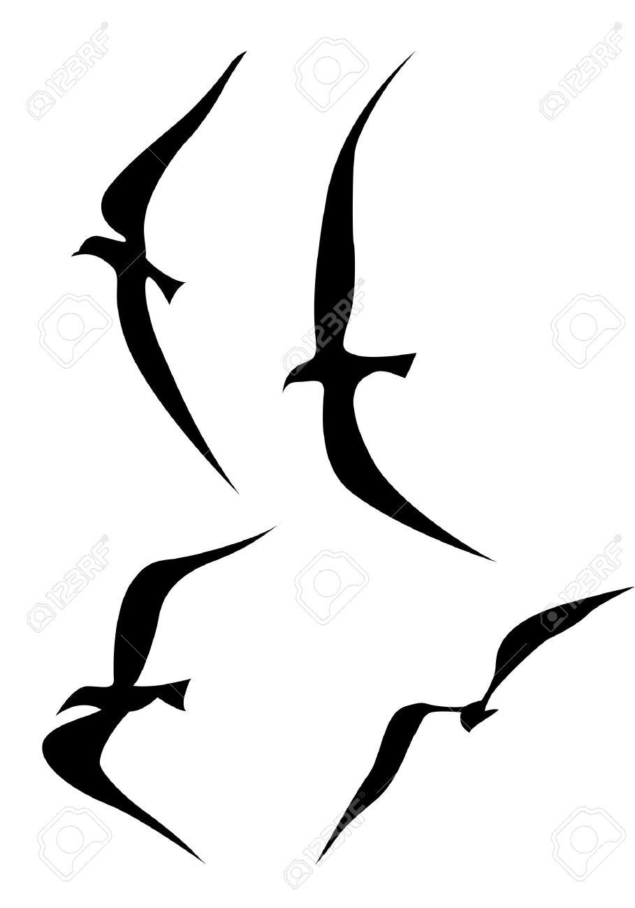 Flying Birds Silhouette On White Background, Vector Illustration.