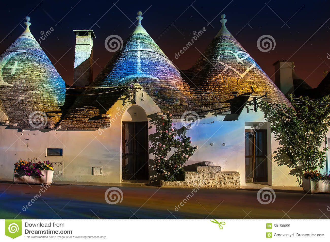 Alberobello With Trulli's At Night Stock Photos.