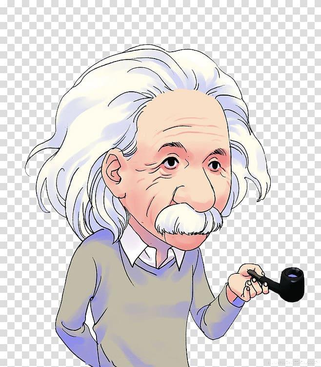 Albert Einstein holding smoking pipe illustration, Einstein.