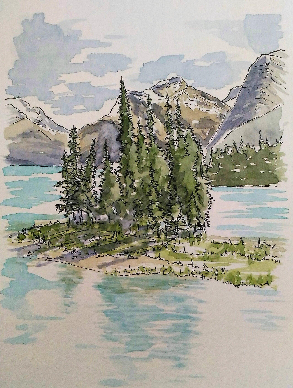 Spirit Island Malligne Lake Jasper National Park, Alberta.
