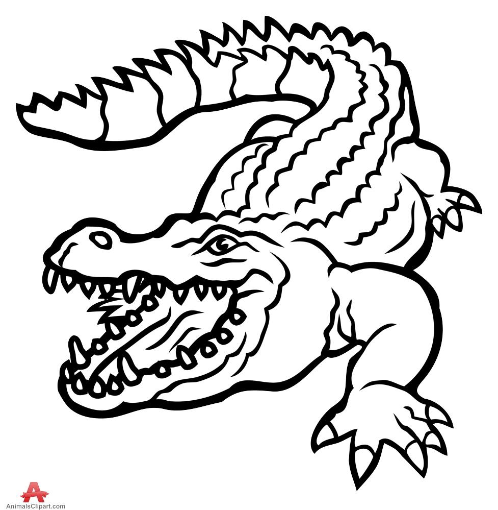 Alligator Clipart Black And White.