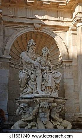 Stock Photography of View of Danubius Fountain at Albertina Museum.