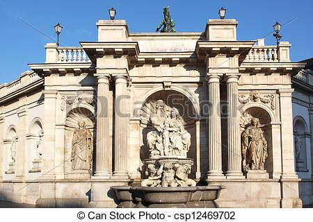 Stock Photography of Albrecht Fountain Vienna.