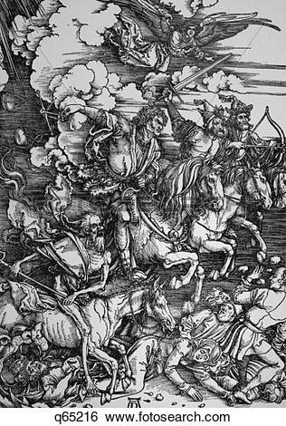 Stock Images of 1400S Famous Albrecht Durer Woodcut Four Horsemen.