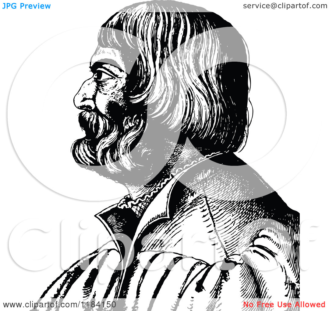 Clipart of a Retro Vintage Black and White Profile Portrait of.