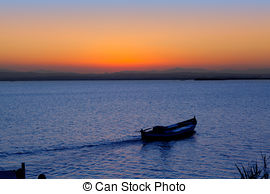 Stock Photographs of sunset in Albufera lake Valencia.