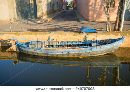 Vintage Fishing Boats On Canal Stock Photos, Royalty.